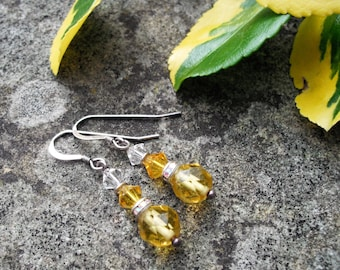 Vintage glass beads.. drop earrings sparkling rondell.Sterling Silver hooks.gift bag .free P&P UK