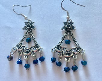 Silver Sapphire Blue Chandelier Dangly Earrings with Swarovski Crystals On Sterling Silver Ear wires.