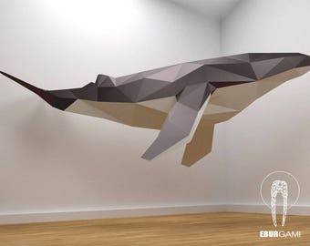 Low Poly XXL Whale Model, Create Your Own 3D Papercraft Whale, Origami Whale, Blue Whale, Wall hanging, Eburgami