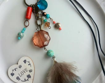 necklace Boho, ethnic necklace, feather, suede, Coral, nacre,bronze long bohemian necklace