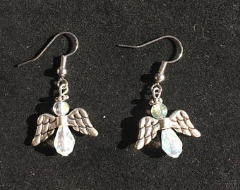 Iridescent crystal angle earrings