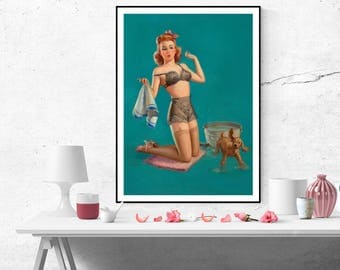 Art Frahm Pin up Girl Shower Puppy Vintage Art Poster Print Canvas Wall Art Painting Home decor poster size A2/A3/A4