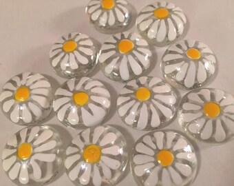Hand Painted Glass Gems 12 Daisy