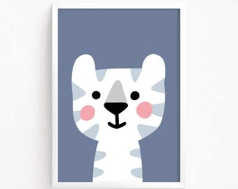 Sale 50% Off - Cute Baby Tiger Kitty Poster Printable art Baby Girls animal illustration Kawaii Kids room art print nursery instant download