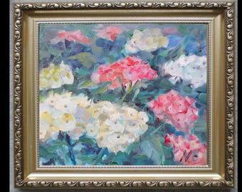 Original oil painting Hydrangea, small oil painting, oil miniature, original oil flowers, still life, wall decor, affordable oil wall art
