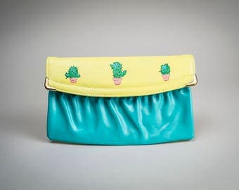 RESERVED - Cactus Clutch, Hand Painted Vintage Handbag