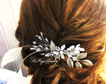 Wedding Hair accessories,Bridal Hair comb,hair jewelry wedding feather,hair accessories,hair comb,party,boho bridal,bridal hair feather