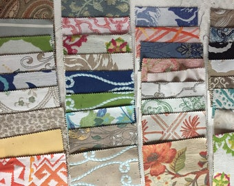 35 upholstery fabric swatches, assorted patterns