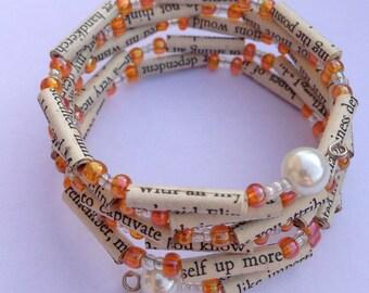 Orange Sense and Sensibility Book Bead Bracelet