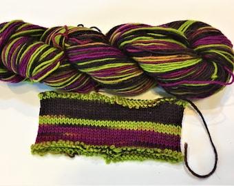 Hand-dyed Self-striping Yarn - aubergine wild thang super wash wool sock yarn