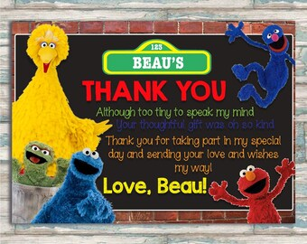 Sesame Street Thank You Card - Elmo, Cookie Monster, Big Bird, Grover, Oscar the Grouch - Brick and Chalkboard Birthday Thank You Card