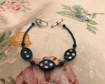 Blue & Black Polka Dot Bracelet with Deep  Blue Beads