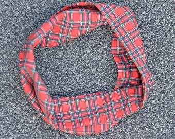 Red plaid infinity scarf, snood for dogs
