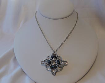 Celtic Diamond Chainmaille Necklace Silver Blue