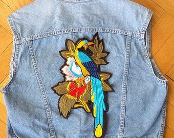 jeans birds sleeveless jacket