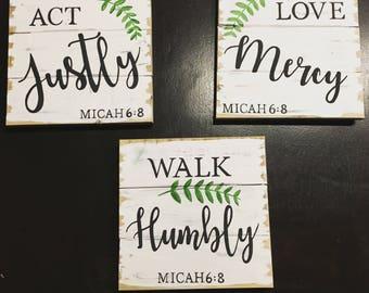 Micah 6:8 Act Justly...set of 3