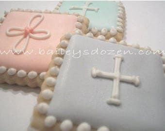 Mini Communion pastel squares| Custom decorated cookies| Communion favors