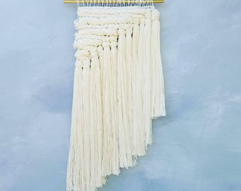 Woven Tapestry Wall Hanging | Modern Minimalist Home Decor | White Braided Fiber Art | Housewarming Gift