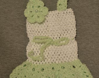 Dress for a newborn white and green
