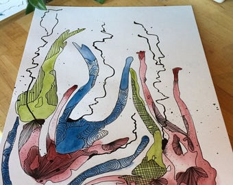 Watercolor  & Ink : Painting // Isadora's scarves // home decor // art // abstract // gift