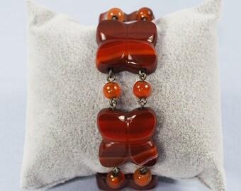 Antique Scottish Carved Agathe Bracelet