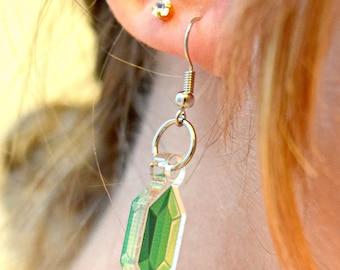 Green rupee earrings, pretty earrings, zelda, link, legend of zelda earrings, jewelry, money earrings, gaming jewelry, nintendo earrings