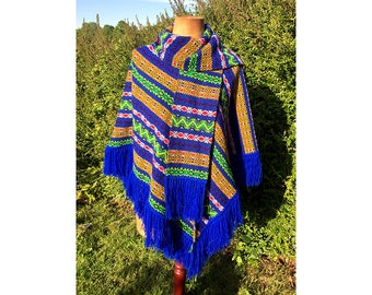 Vintage original 1970's colourful shawl / poncho