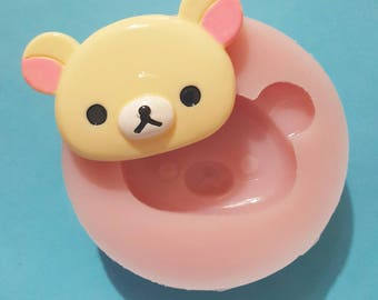 BIG shiny head flexible silicone mold Rilakkuma (random color)