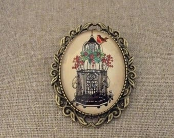 Bird in Cage Vintage Glass Cameo Brooch Handmade