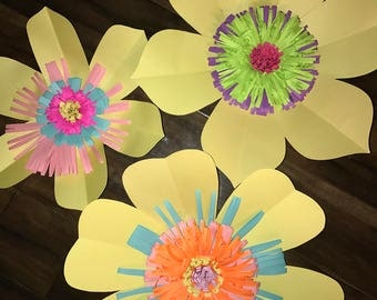 3 pc Yellow paper flowers