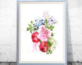Watercolor Flowers, Flower Illustration, Flower Wall Art, Flowers Poster,  Flowers Bouquet,