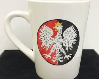 Red & Black Polish Falcon White Coffee Mug