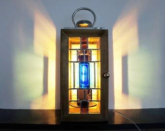Handmade stained glass lantern with LED lamp