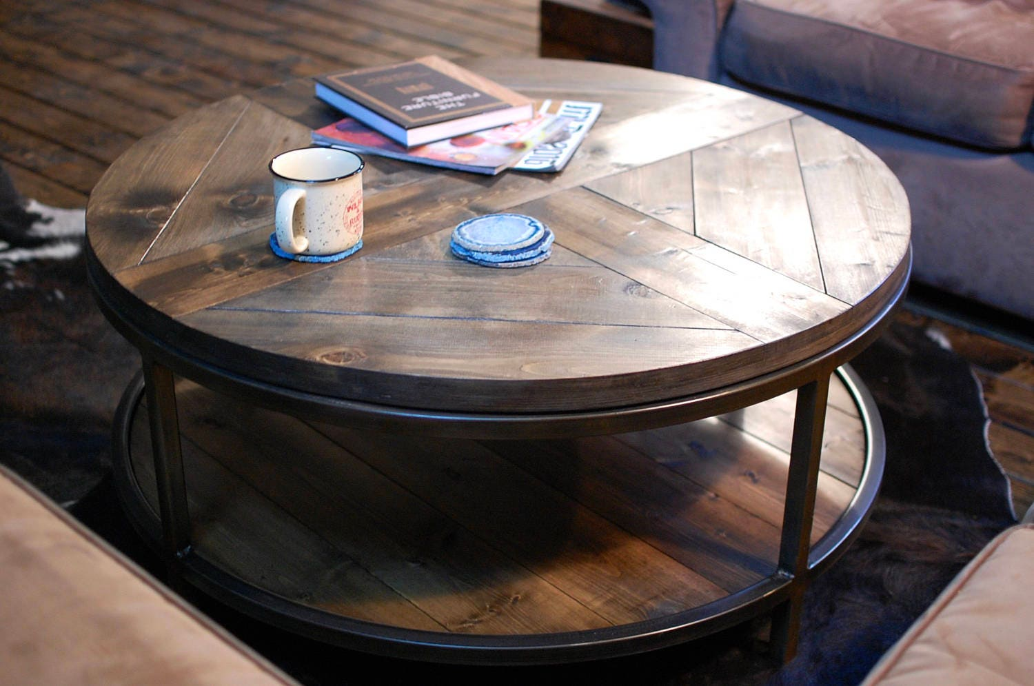 Industrial Round Wood Coffee Table, Two Tier Table, Wood Furniture Rustic,  Industrial Furniture - Round Coffee Table Etsy