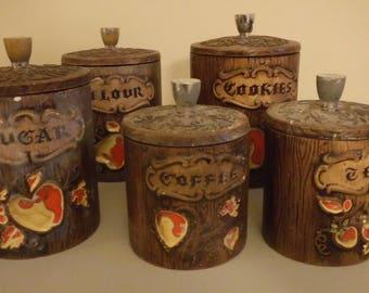 Kitchen canister set, mid-century vintage decor, ceramic, set of 5, coffee, cookies, tea, flour, sugar w/lids