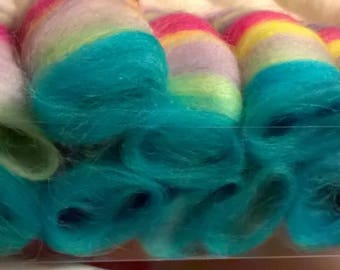 Striped Spring Rolags, 100g, Blue Faced Leicester, Merino, White, Rainbow, OOAK.