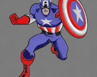 Embroidery design Captain America superhero 4x4 hoop