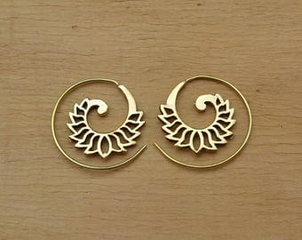 Lotus Spiral brass earrings