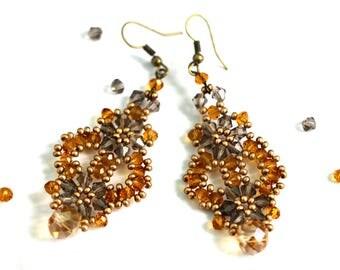 """Jewelry set, bracelet and earrings, bracelet-earrings, handmade jewelry set in gold tones """"Oxana"""""""
