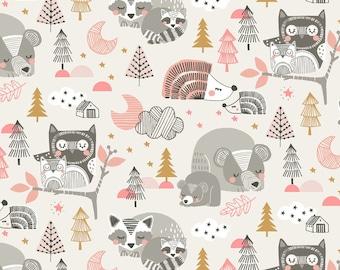 Sleepyheads Pink by Maude Asbury for Blend Fabrics; Woodland Pink Nursery; Baby Fabric