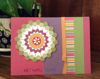 Handmade Get Well Soon card - bright colors, circles, stripes