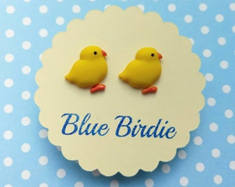 Chick earrings chick jewellery chick jewelry chick stud earrings chicken earrings Easter chick jewellery small chick earrings yellow chick