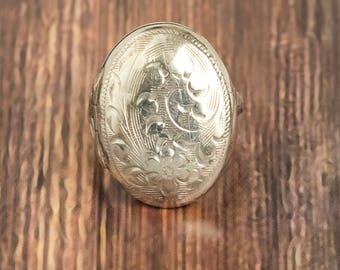 Vintage Sterling Silver Locket Ring, Floral Design, Butterfly