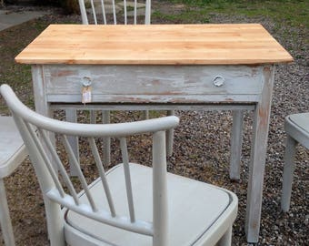 Table wood grey kitchen drawer table shabby retro