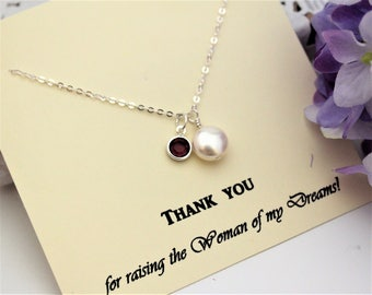 Mother of Bride Gift Mother In Law Gift from Groom Thank you for Raising the Woman of my Dreams Personalized Necklace Coin Pearl Necklace