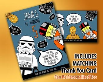 Star Wars Einladung U0026 Danke Karte, Druckbare Star Wars Geburtstag Einladung,  Star Wars