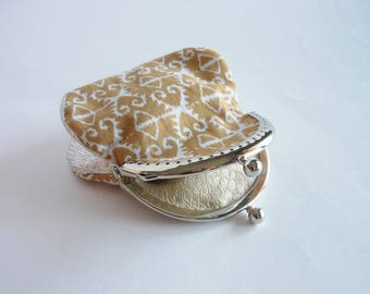 Wallet camel and silver, two-tone scholarship ethnic pattern type.