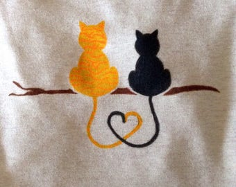 Hand painted Cats on Branch t-shirt