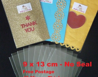 100 Clear Cellophane Bags - 9cm X 13cm - Non Seal - 40 micron thickness