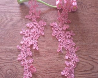 1 Pair Pink mirrored lace flower applique,Pink Lace flower trim,Pink lace patches, Fuchsia Pink Applique for Lyrical Dance,Garments